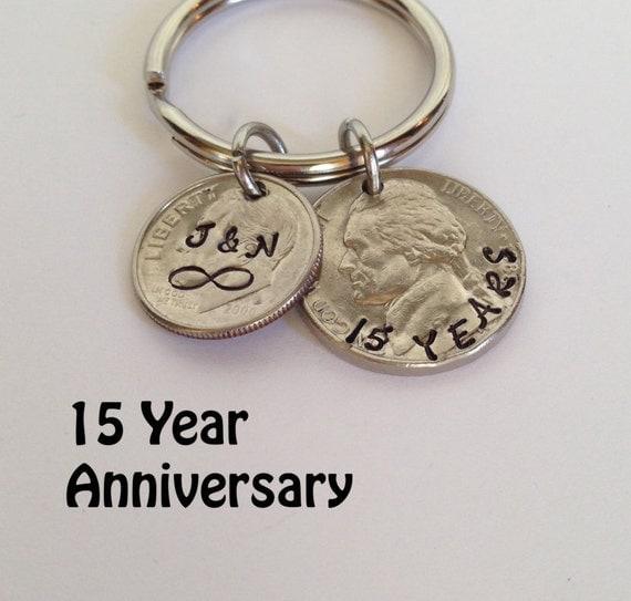 15 year anniversary keychain 15th anniversary custom key chain hand