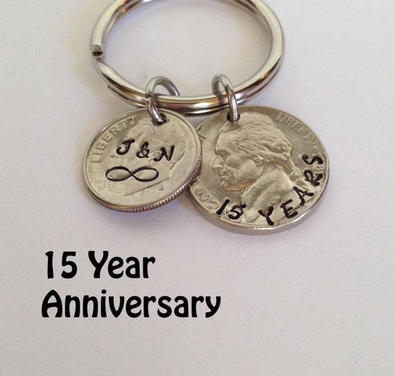 15 Year Anniversary Keychain, 15th Anniversary, 15th Wedding ...