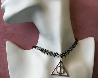 Deathly Hallows Charm Tattoo Choker, Harry Potter Tattoo Choker