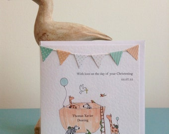 Personalised Noah's Ark Christening/Baptism card
