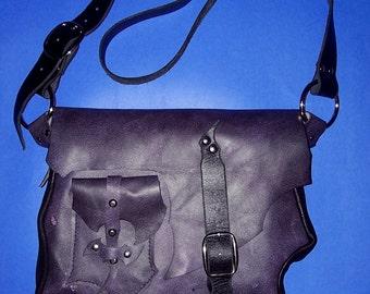 SALE Purple Leather Travel Bag Messenger Bag Purse
