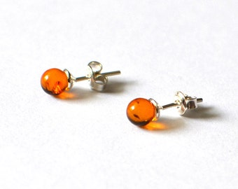 Amber Stud Earrings, Small Amber Post Earrings, Amber Earrings, Stud Earrings, Gift Ideas, Small Stud Earrings