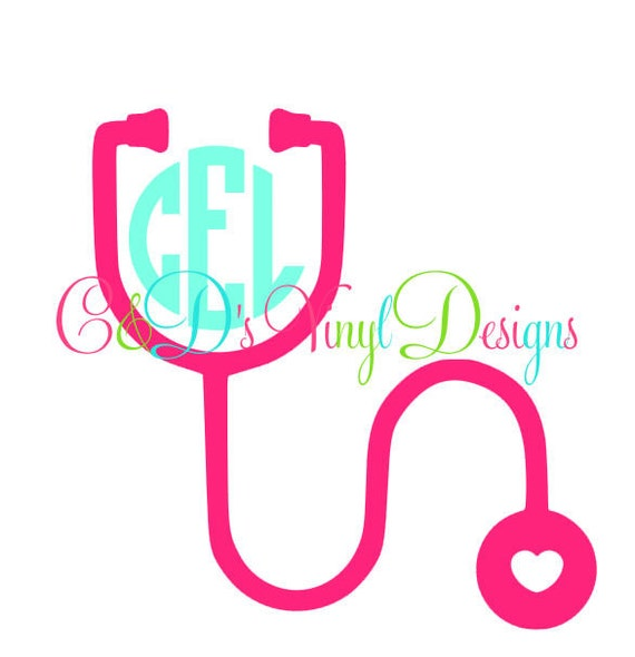 monogram stethoscope car decal heart by canddvinyldesigns on etsy