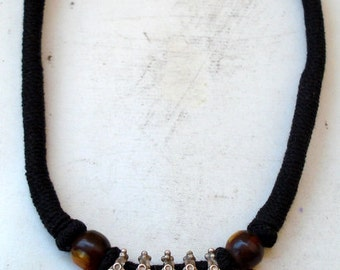 vintage antique tribal old silver necklace pendant choker traditional jewelry