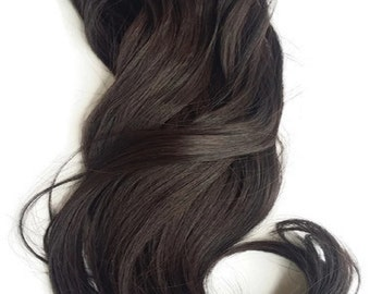 """Hair Fusion Invisible Micro-Loop Headband Secret Extensions -""""Halo Style Hair""""-multi-colors-salon-inspired """"DARK BROWN"""""""