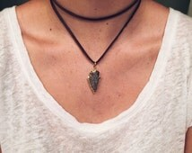 Double Wrap Chocolate Brown Leather Arrowhead Necklace