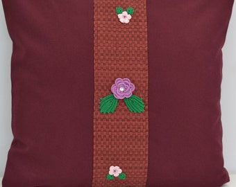 """Hand crocheted flowers Cherry-colored fabric Flowers Pillow Cover Handmade 16x16"""""""