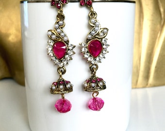 White, Pink, Long chandelier earrings with Gold tone finish, pearls, jhumka, jhumki, indian, pakistani, chandelier