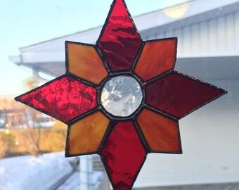 Red / Orange Star Stained Glass Suncatcher