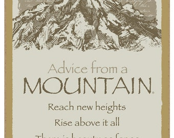 "Mountain, Advice From A - 5"" x 10"" Advice Sign Wood Plaque Wood Sign Wall Decor Home Decor Nature Plaque"