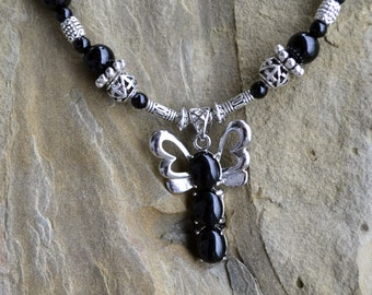 Onyx Agate Necklace with a Butterfly Pendant, Beaded Handmade Necklace, Natural Black Agate Gemstones and Silver (14)