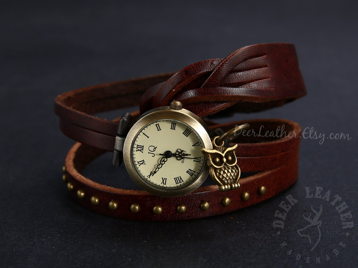 womens wrap watches rock rivet vintage bracelet by deerleather
