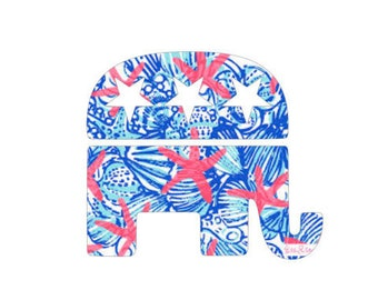 Lilly Pulitzer Inspired Republican Elephant