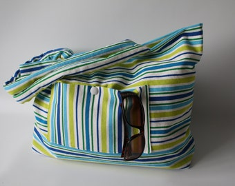 "Beach bag with inside pocket - outside, bag groceries, 19 ""x 15"""