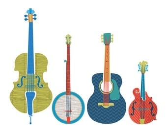 Bluegrass Instrument Art Print