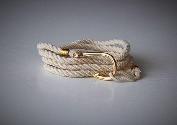 Fish hook bracelet men 39 s wrap bracelet sea bracelet by for Mens fishing bracelet