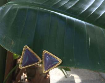 Vintage Purple & Gold Triangle Earrings