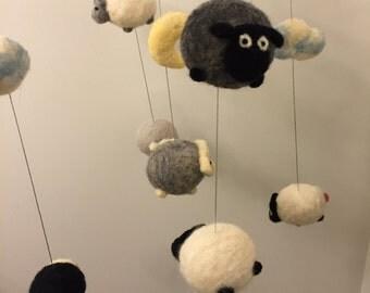 Amigurumi Sheep Baby Mobile : Baby mobile sheep etsy
