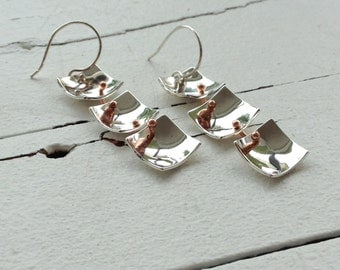 earring 3 Silver squares and link in copper.