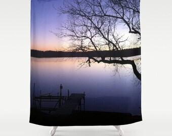 Sunset,Shower Curtain,Purple,Orange,Black,Lake,Bath Curtain,Bathroom Decor,Accessories,Bathroom Art,Designer Shower Curtain,Interior Design