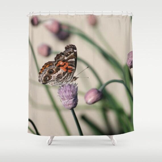 Butterfly on chives shower curtainbrowngreenpurplebath - Brown butterfly meaning money ...