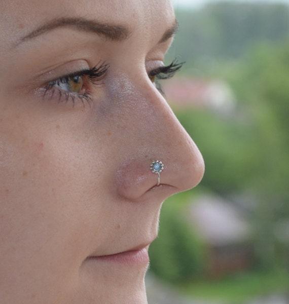 Silver Flower Nose Ring Opal Nose piercing 20 gauge Septum
