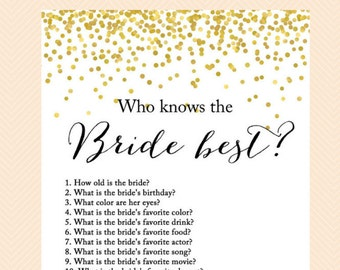 Who knows the Bride best, how well do you know the bride game, bridal quiz, Gold Confetti Bridal Shower, Bachelorette, Wedding Shower BS46