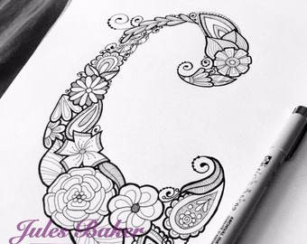 "Digital Coloring Page - Letter C from ""Letter Doodles"" Coloring Book"