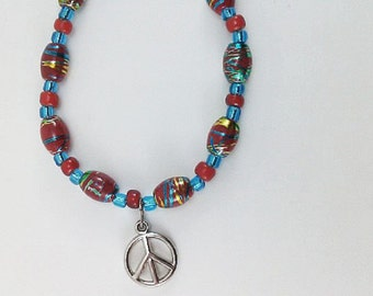 Red, White and Blue, Blue Glass Beads, Red and White Vintage Beads, Handmade One-of-a-Kind Beaded Bracelet with Peace Symbol Charm