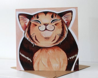 Happy Fat Tabby Cat - Blank Greeting Card