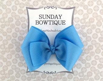 Blue Hair Bow, Blue Hairbow, Blue Boutique Bow, Blue Hair Clip, Blue Hair Accessory, School Uniform Bow, School Hair Bow, Bow