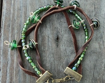 Forest Green Glass and Leather Bracelet