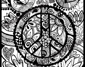 Peace of My Mind Zentangle Coloring Page
