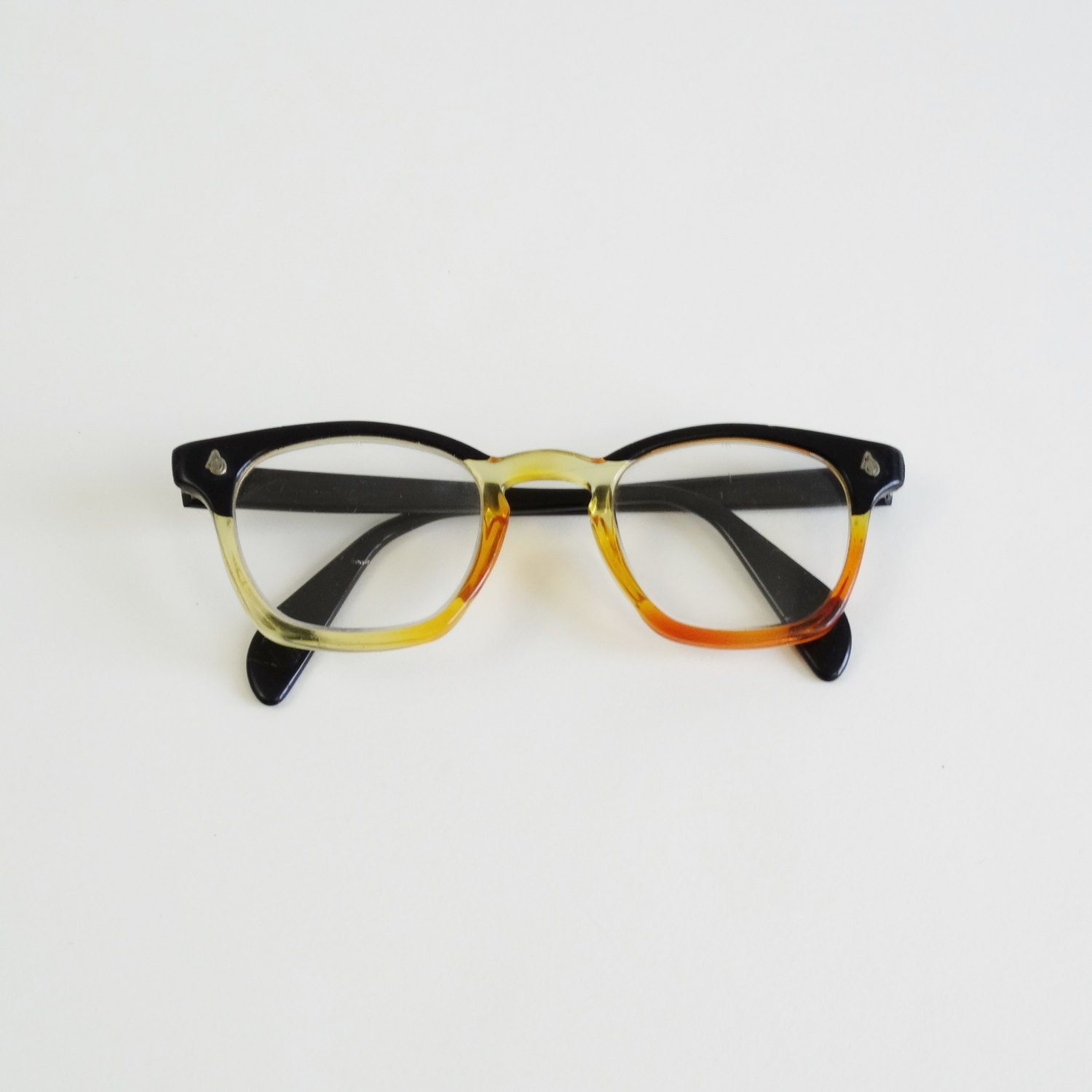 Good Eyeglass Frames For Thick Lenses : 60s plastic glasses frames vintage 1960s thick eyeglasses