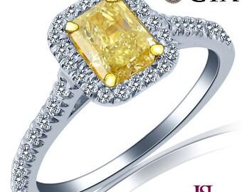 GIA Radiant Cut Diamond Engagement Ring, Certified Natural Fancy Yellow Diamond, 1.03ct Halo Diamond Engagement Ring, 18k White Gold Band