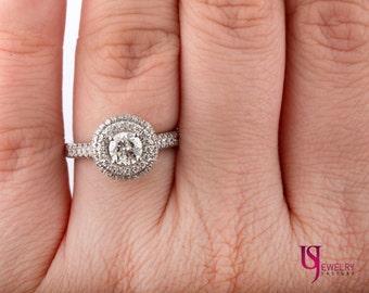 Round Cut Diamond Engagement Ring, 1.34 TCW, Double Halo Diamond Ring, 14k White Gold, Handmade, Solid Gold, Side Round Diamonds