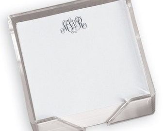 Monogrammed Notes in Acrylic Holder