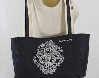 Embroidered Lace Black Handbag