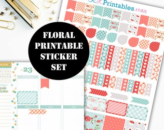 Floral Printable Planner Stickers // Erin Condren Printable / Plum Paper Planner / Planner Insert Instant Digital Download 00049