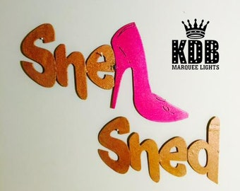 """She Shed with High Heel Shoe Metal Sign - 6"""" High"""