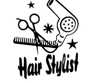 Hair Stylist with Scissors, Comb and Hair Dryer Sticker Vinyl Decal