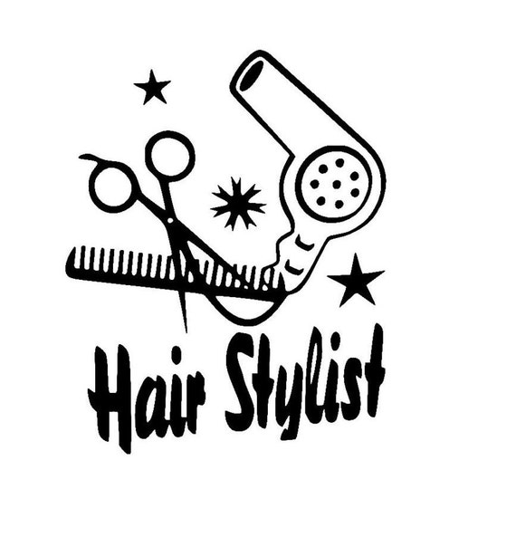 Hair Stylist With Scissors Comb And Hair Dryer Sticker Vinyl