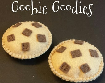 Two Felt Chocolate Chip Cookies for Pretend Food Play
