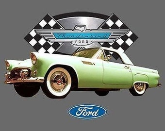Green Ford 1955 Thunderbird Car T Shirt  Mens T Shirt 13741HD2