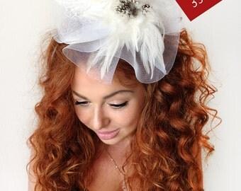 White Fascinator - White Wedding Fascinator Hat, Tea Party Hat - Kentucky Derby Hat - British Hat Fascinator Headband - Bridal Hat