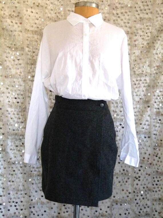 90s Armani Wrap It Up Mini Skirt; Grunge Skirt; Giorgio Armani; Wool Skirt; S/M; Grey Wool; High Waisted Skirt; Mini Skirt