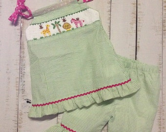 Smocked Zoo Animals, Smocked Capri Set, Smocked Girls Outfits, Matching Sibling Available