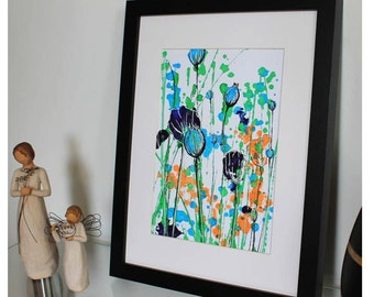 Floral Art Print, Flower Painting, Abstract Flower Painting, Acrylic Painting, Flower Landscape.