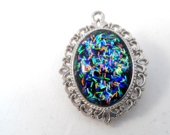 Rainbow Iridescent Glitter Nail Polish Necklace - 'Confettish' Handmade Sparkly Silver-plated Multicolored Nail Varnish Pendant Jewelry