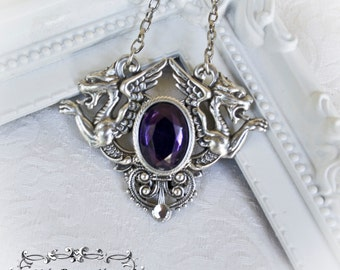 Purple Chimaera Gothic pendant-Gothic pendant-Silver gothic necklace-gothic jewelr-silver pendant